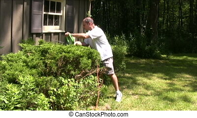 man trimming bushes with electric hedge trimmer