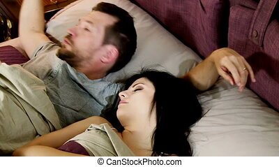 Man try to wake up wife - Man trying to wake up girlfriend...