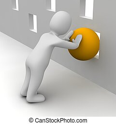Man trying push orange ball through small hole. 3d rendered illustration.