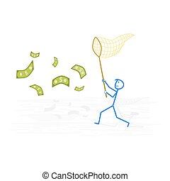 Man trying to catch money