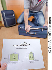 Man trying to close full hand luggage for comply low cost...