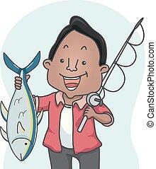 Man Tuna Catch Fishing Illustration