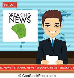 Man Tv Newscaster - Attractive young tv newscaster man...