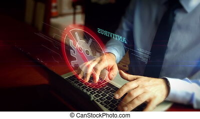 Man typing on keyboard with antivirus hologram - Man in tie ...