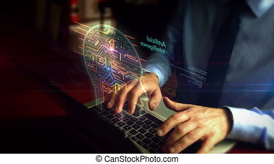 Man typing on keyboard with artificial intelligence hologram...
