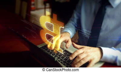 Man typing on keyboard with bitcoin hologram - Man in a tie...
