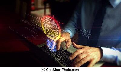 Man typing on keyboard with bulb symbol hologram - Man...