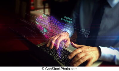 Man typing on keyboard with cybernetic brain cloud hologram...
