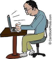Man Typing on Laptop - Badling man typing on laptop on small...