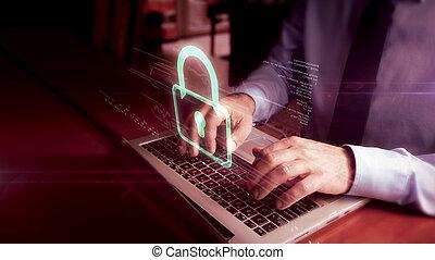 Man typing on laptop with padlock hologram screen