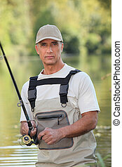 man, uit, visserij