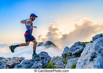 Man ultramarathon runner during a workout