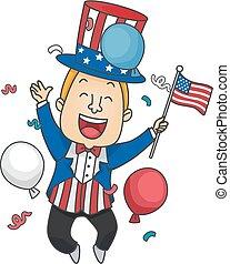 Man Uncle Sam Costume Illustration