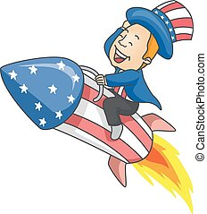 Man Uncle Sam Rocket Illustration