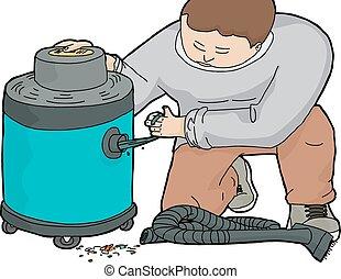 Man Unclogging Wet-Dry Vacuum - Illustration of janitor ...