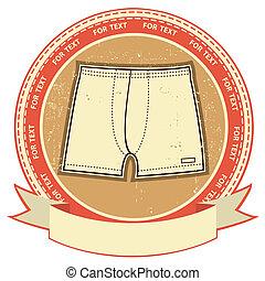 Man underwear label set on grunge paper.Vector clothes background