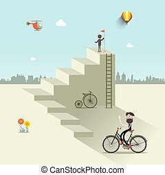Man Up the Stairs with Flag, One with Bicycle and Helicopter on Sky. Abstract VEctor Flat Design City Scene.