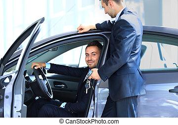 man, uppköp, a, ny bil