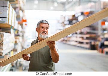 man, uppköp, konstruktion, ved, in, a, diy, lager