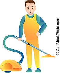 Man use vacuum cleaner icon, cartoon style