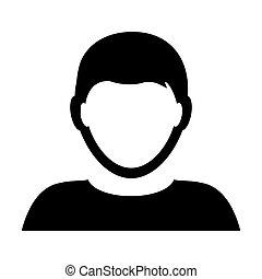Man User Icon - Person Profile Avatar Glyph Vector Illustration