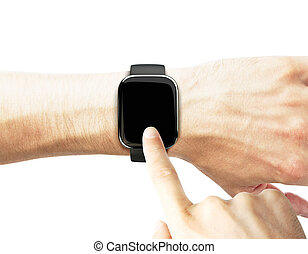 man uses a smart watch