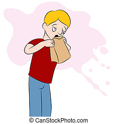 Man Using a Barf Bag - An image of a man using a barf bag.
