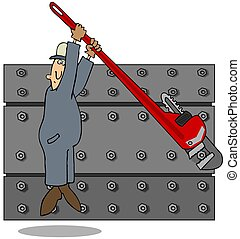 Man Using A Big Wrench