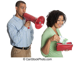Man using a bullhorn as happy woman takes money from wallet