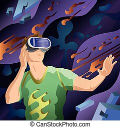 Man using a virtual reality VR headset. Abstract background.