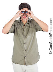 Man using binoculars