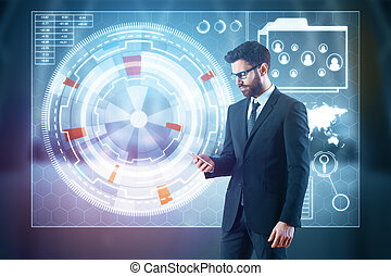 Man using cellphone with business hologram