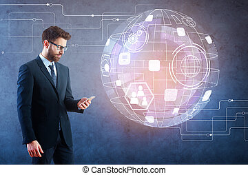 Man using cellphone with hologram
