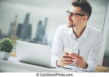 Man using cellular phone