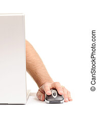 Man using computer with mouse