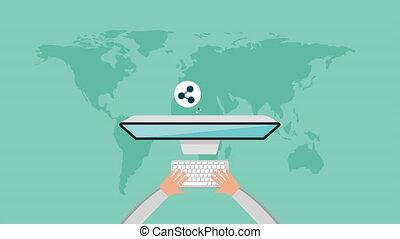 man using desktop with social media technology , hd video...