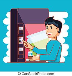 man using dispenser machine electronic