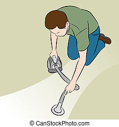 Man Using Handheld Vacuum