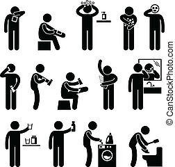 A set of pictogram representing man using products of different type.