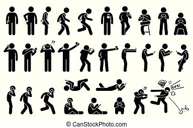 Man using, holding, and carrying phone or smartphone in different basic position and postures.