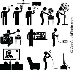 Man Using Home Appliances Equipment - A set of pictograms...