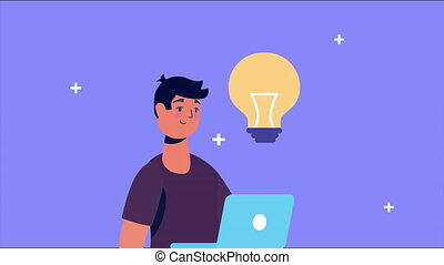 man using laptop and bulb