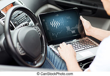 man using laptop computer in car - transportation and...