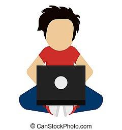 man using laptop icon