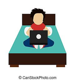 man using laptop on bed icon