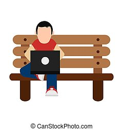 man using laptop on bench icon
