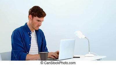 Man using laptop on desk against white background 4k