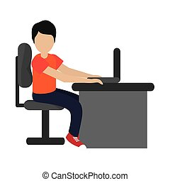 man using laptop on desk icon