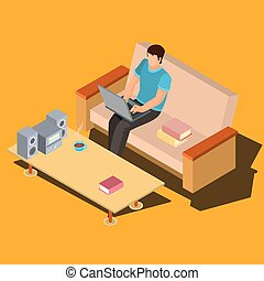 Man using laptop on sofa at home isometric vector