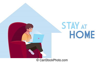 man using laptop work at home campaign animation ,4k video animated